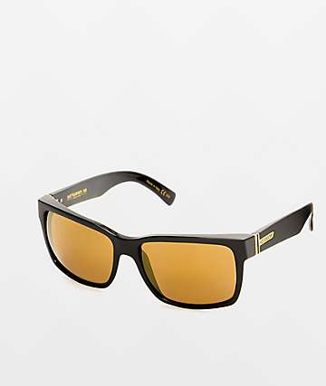 Von Zipper Elmore Black Satin & Gold Sunglasses