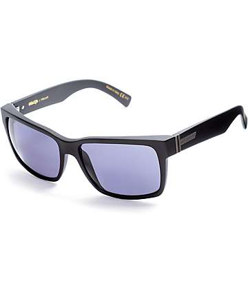 Von Zipper Elmore Black Satin & Grey Polarized Sunglasses