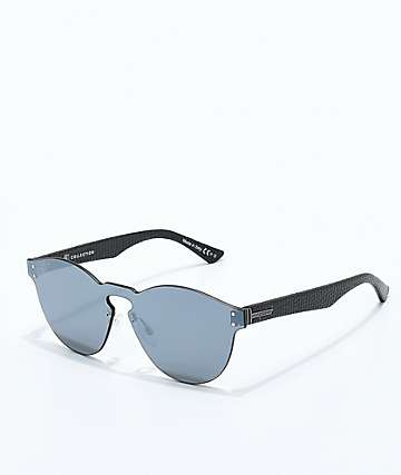 VonZipper Alt Ditty Black Leather Silver Chrome Sunglasses