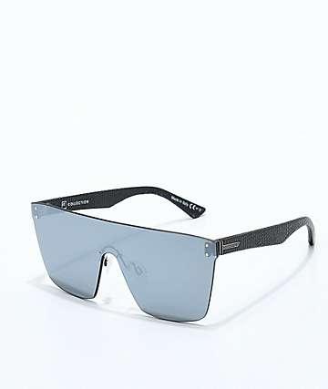 VonZipper Alt Donmega gafas de sol de cuero negro y cromo plateado