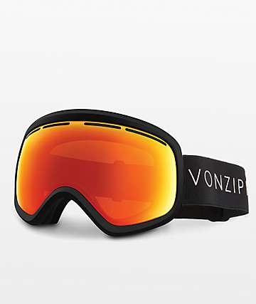 VonZipper Skylab Fire Chrome gafas de snowboard en negro satinado