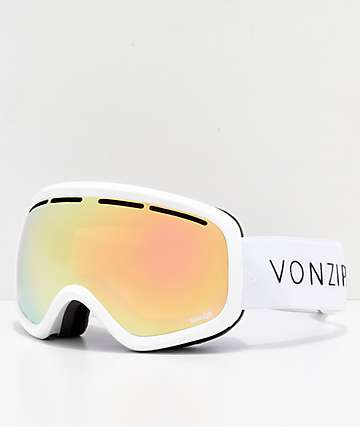 a17d24253934 VonZipper Skylab White Gloss Gold Chrome Snowboard Goggles