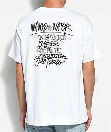 Waves For Water Shawn Stussy camiseta blanca con bolsillo