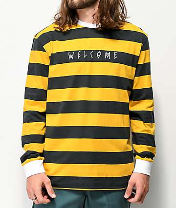 Welcome Big Beautiful Striped Black & Gold Long Sleeve T-Shirt