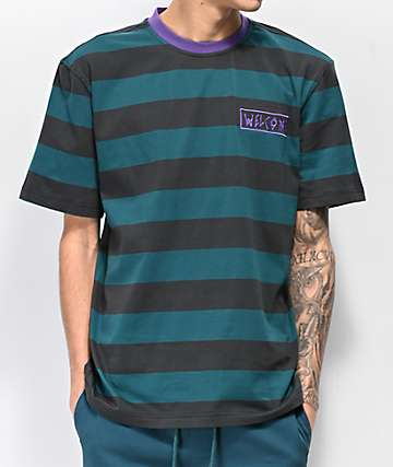 Welcome Big Beautiful Striped Dark Teal & Purple Knit T-Shirt