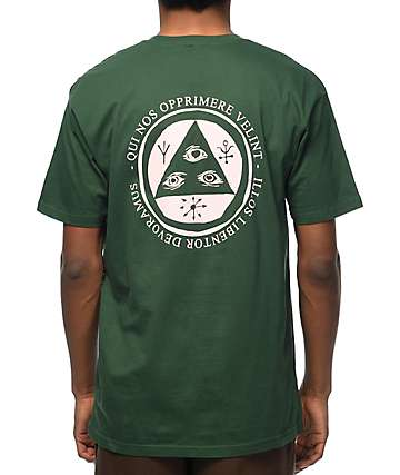 Welcome Latin Talisman Forest Green & Pink T-Shirt