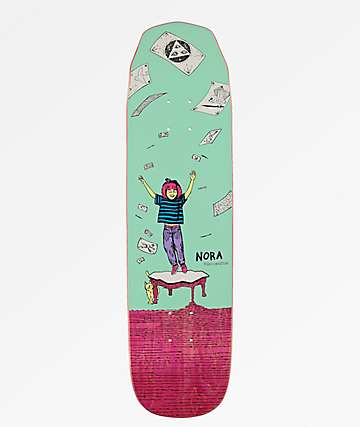 "Welcome Nora Magilda Teal & Pink 8.1"" Skateboard Deck"