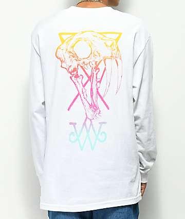 Welcome Saberskull White & Rainbow Long Sleeve T-Shirt