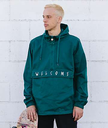 Welcome Scrawl Dark Teal Anorak Jacket