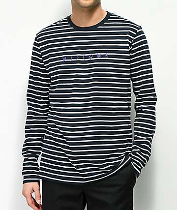 Welcome Scrawl Navy & White Striped Long Sleeve T-Shirt