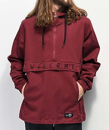 Welcome Scrawl Wine Anorak Jacket
