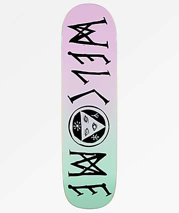 "Welcome Scrawlisman On Big Bunyip 8.5"" Lavender & Teal Skateboard Deck"