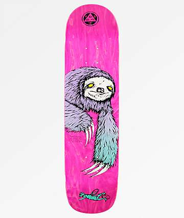 "Welcome Sloth On Bunyip 8.0"" Pink Stain Skateboard Deck"