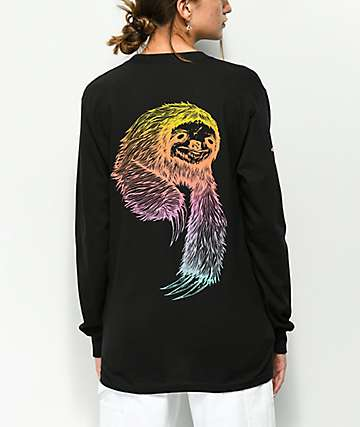 Welcome Sloth Rainbow Black Long Sleeve T-Shirt