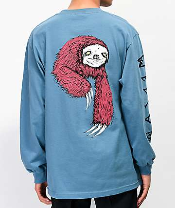 Welcome Sloth Slate Blue Long Sleeve T-Shirt