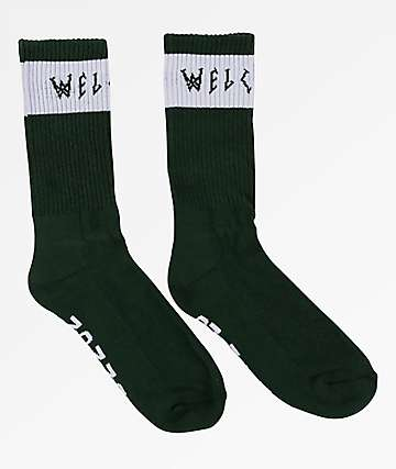Welcome Summon Forest & White Crew Socks