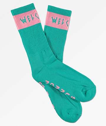 Welcome Summon Teal & Pink Crew Socks