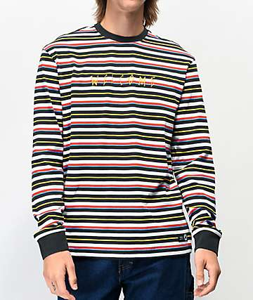 Welcome Surf Stripe Black & White Long Sleeve T-Shirt