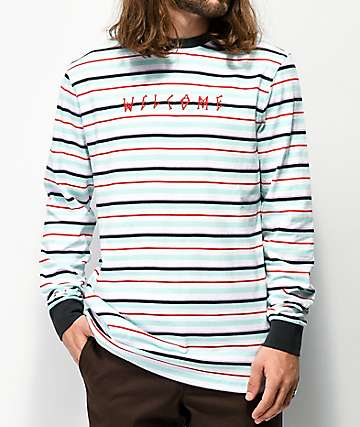 Welcome Surf Stripe Teal & White Long Sleeve T-Shirt