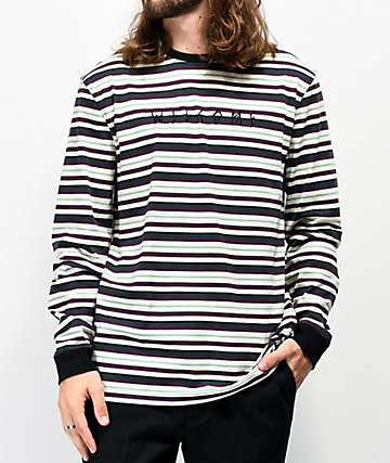 Welcome Surf Stripe White, Green & Purple Long Sleeve T-Shirt