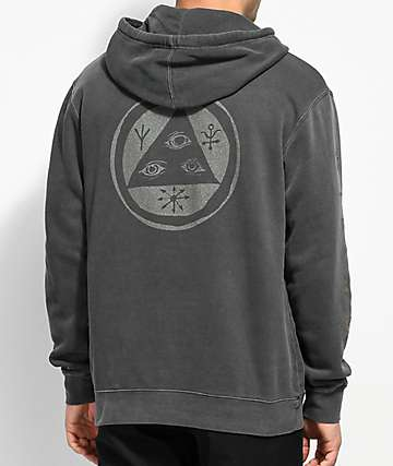 Welcome Tali Scrawl Black Pigment Dyed Hoodie