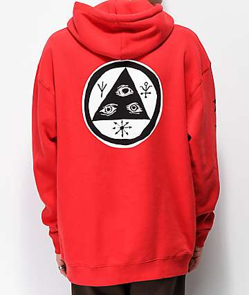 Welcome Tali-Scrawl Red Hoodie