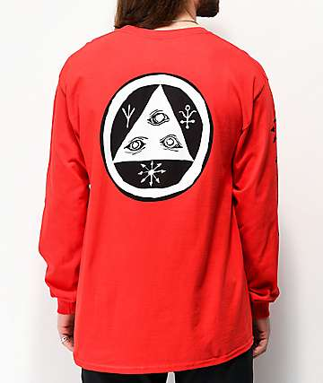 Welcome Tali-Scrawl Red Long Sleeve T-Shirt
