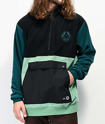 Welcome Talisman Black, Green & Dark Turquoise Anorak Fleece Jacket