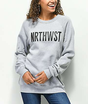 Wish You Were Northwest NRTHWST Grey Crew Neck Sweatshirt