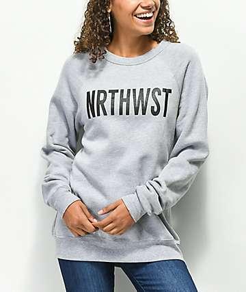 Wish You Were Northwest NRTHWST sudadera gris con cuello redondo