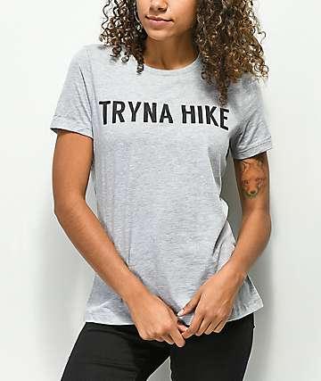Wish You Were Northwest Tryna Hike Grey T-Shirt