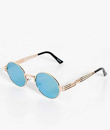 Wiz gafas de sol redondas en oro, verde y amarillo espejado