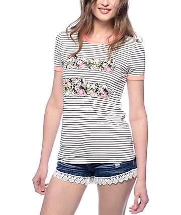 Workshop Good Vibes Floral Stripe Ringer T-Shirt