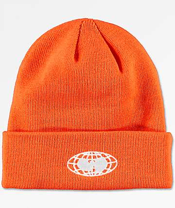 Wu Wear Wu-Tang Globe Logo Orange Beanie