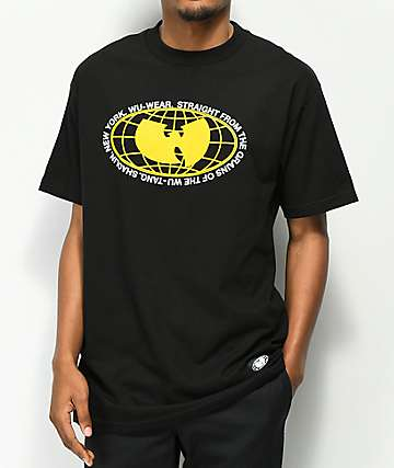 Wu Wear Yellow Globe Black T-Shirt