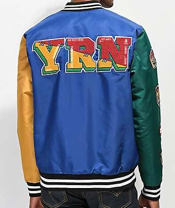 YRN College chaqueta dorada. azul y verde