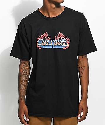 YRN Culture Flame Logo Black T-Shirt