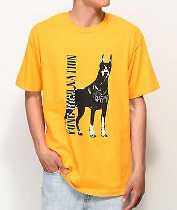 YRN Doberman camiseta dorada
