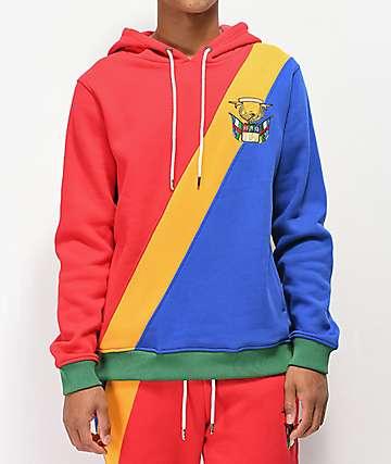 YRN Finesse On Ten sudadera con capucha roja, amarilla y azul