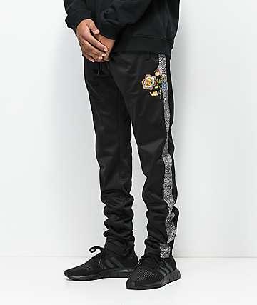 YRN Floral Black Track Pants