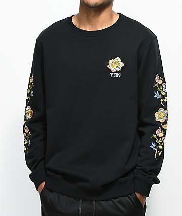 YRN Floral Sleeve Black Crew Neck Sweatshirt