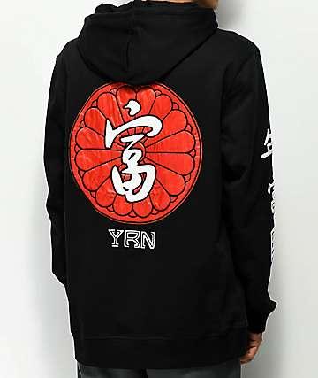 YRN Kanji sudadera negra con capucha
