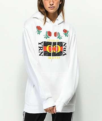 YRN Rose Frame sudadera con capucha blanca