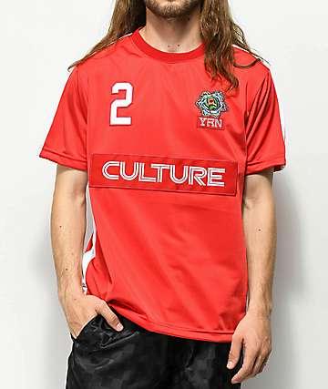 YRN jersey de fútbol roja y blanca