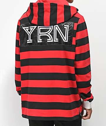 YRN sudadera con capucha negra y roja