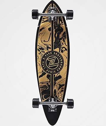 "Z-Flex Acid Swirl Gold 32"" Mini Pintail Complete Longboard"