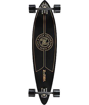 "Z-Flex Top Shelf 38"" Black & Gold Pintail Longboard Complete"