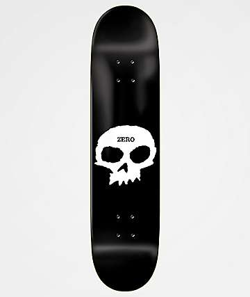 "Zero Single Skull 8.25"" Black Skateboard Deck"