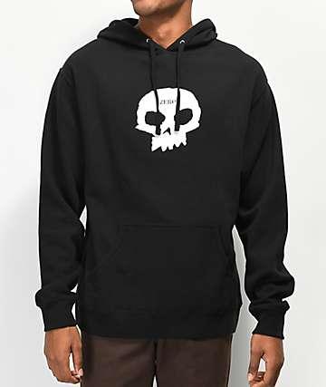 Zero Single Skull sudadera con capucha negra