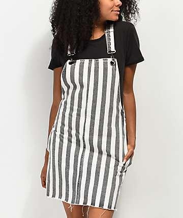 Ziggy Pippie Black & White Stripe Denim Overall Dress